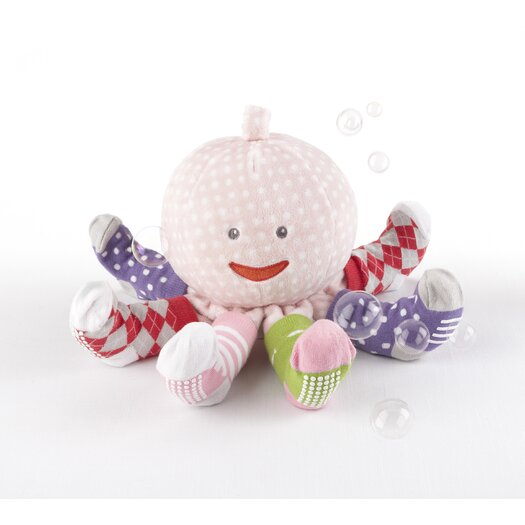 """Baby Aspen """"Mrs. Sock T. Pus"""" Plush Octopus with 4 Pairs of Socks in Pink"""