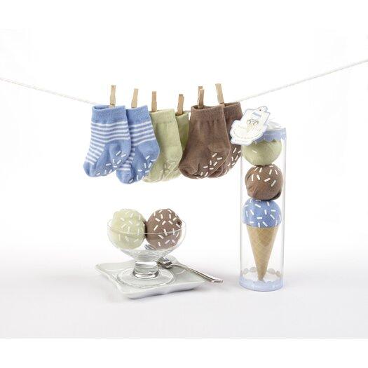"""Baby Aspen """"Sweet Feet"""" Three Scoops of Socks Gift Set in Blue"""