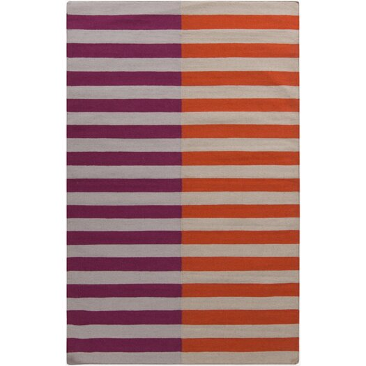 Muse by HTL Flamingo/Cherry Stripe Area Rug