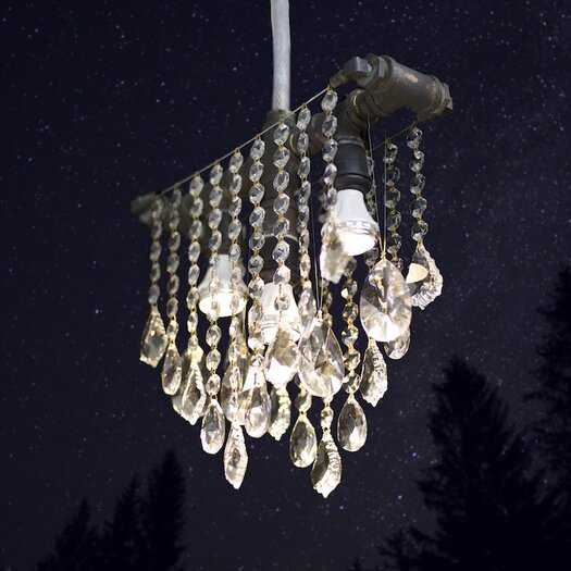 Michael McHale Designs Outdoor 3 Light Crystal Pendant