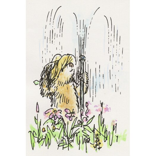 'Fun in the Sprinkler' by Peggy Fortnum Graphic Art on Wrapped Canvas