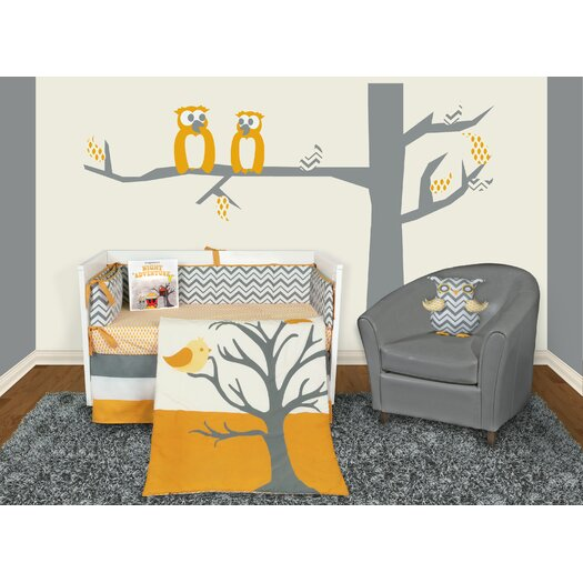 Snuggleberry Baby Nightie Night Owl 6 Piece Crib Bedding Collection w/ Storybook