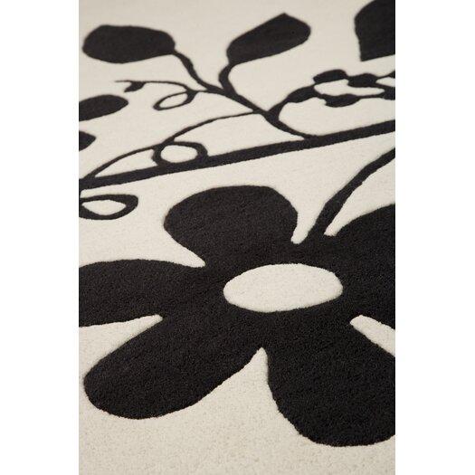 Hokku Designs Flora White/Black Area Rug
