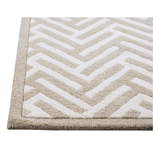 Hokku Designs Mat The Basics Tracks White/Ivory Area Rug