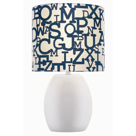 Lite Source Ceramic Lettered Table Lamp with Drum Shade