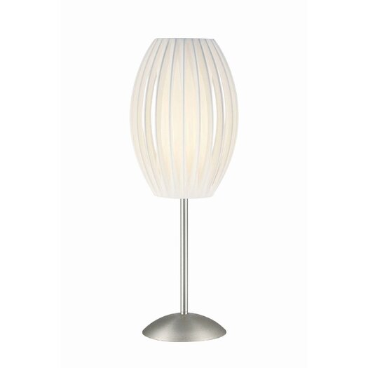 "Lite Source Egg Satin Steel 25"" H Accent Table Lamp with Oval Shade"