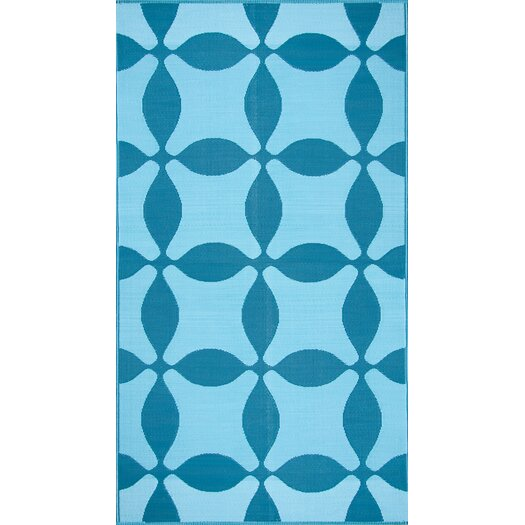 Koko Company Optic Teal/Turquoise Outdoor Area Rug