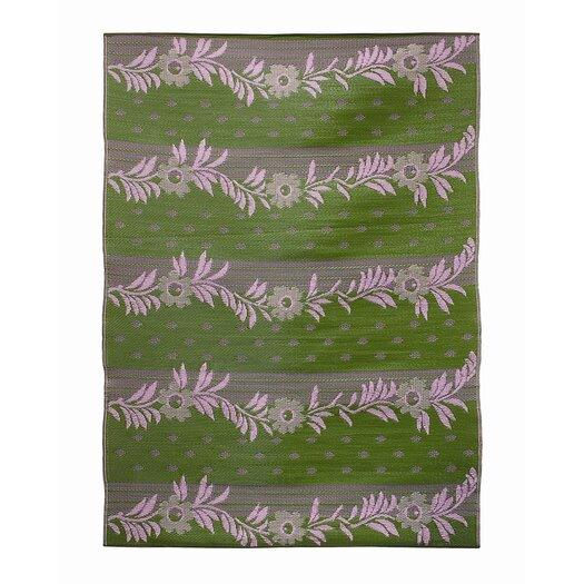 Koko Company Vines Claret Purple / Green Outdoor Rug