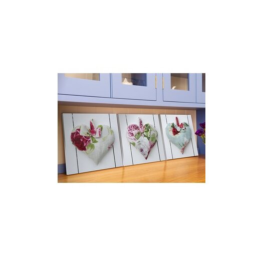 Hearts 3 Piece Graphic Art on Canvas Set