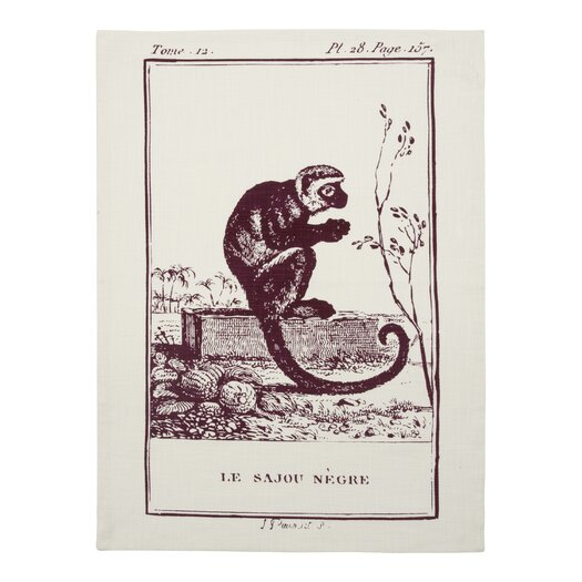Vintage Engravings Monkey Clingancourt Tea Towel