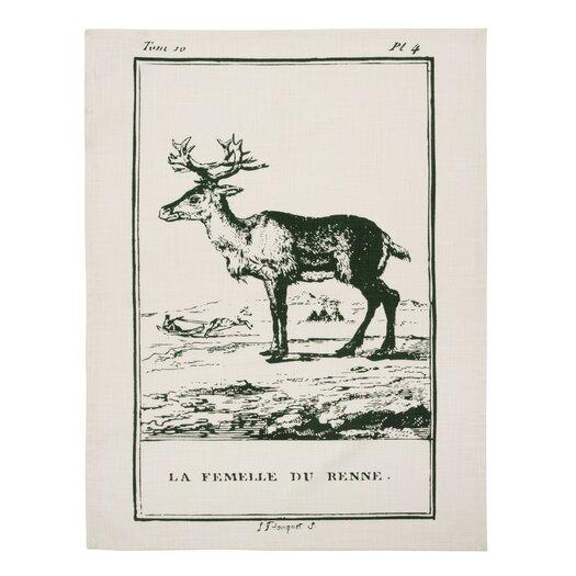 Vintage Engravings Reindeer Clingancourt Tea Towel
