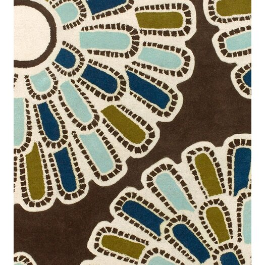 Thomas Paul Tufted Pile Chocolate/Aqua Flora Rug
