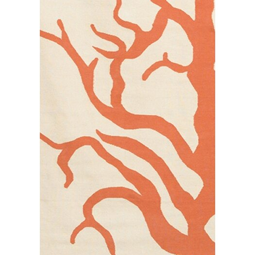 Thomas Paul Flatweave Dhurrie Area Rug Cream/Orange Coral Area Rug