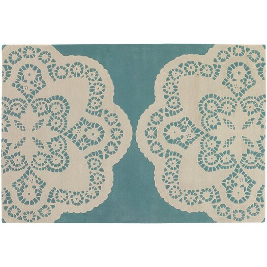 Tufted Pile Aqua/Cream Doily Rug
