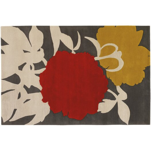 Tufted Pile Red/Gris Peony Rug
