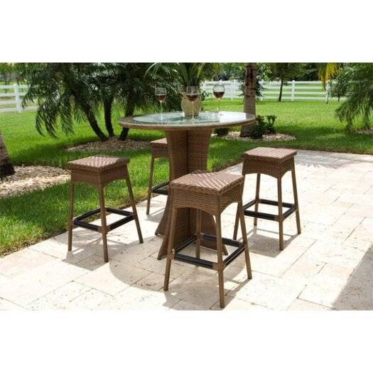 Hospitality Rattan Grenada 5 Piece Patio Bar Height Dining Set