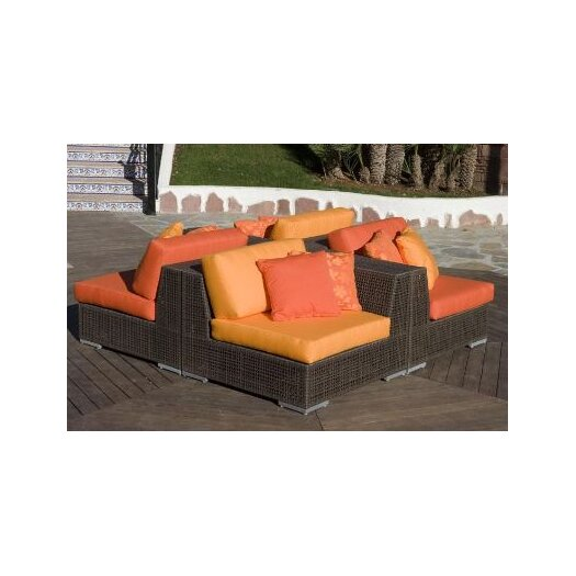 Hospitality Rattan Soho 4 Piece Sectional Deep Seating Group with Cushions