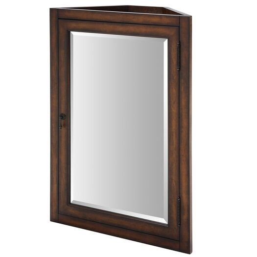 "Ryvyr Malago 24"" Corner Mirrored Medicine Cabinet - Distressed Maple"