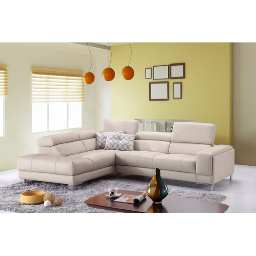 Italian Leather Left Hand Facing Chaise Sectional