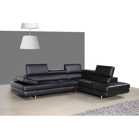 Italian Leather Sectional In Right Hand Facing