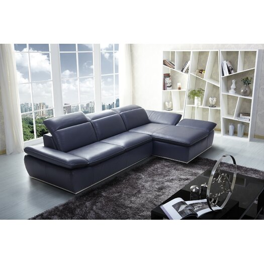 Italian Modern Leather Sectional Right Hand Facing