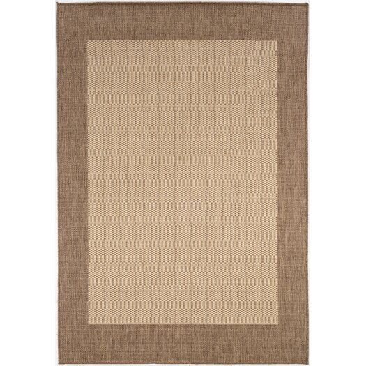 Couristan Recife Checkered Field Natural Cocoa Indoor/Outdoor Area Rug