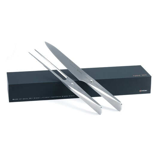 Chroma Type 301 2 Piece Carving Knife and Fork Set
