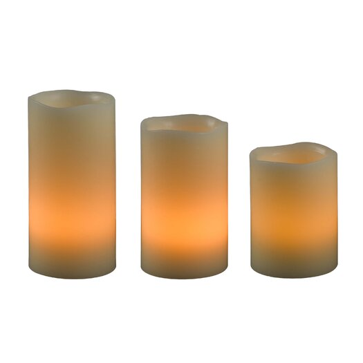 Wildon Home ® Stony LED 3 Piece Pillar Candle Set