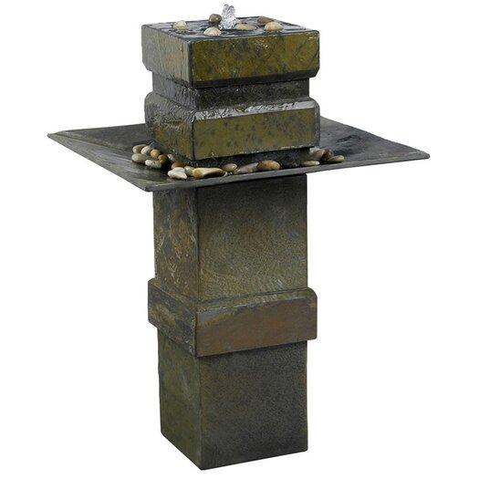 Wildon Home ® Cubist Slate Outdoor Floor Fountain