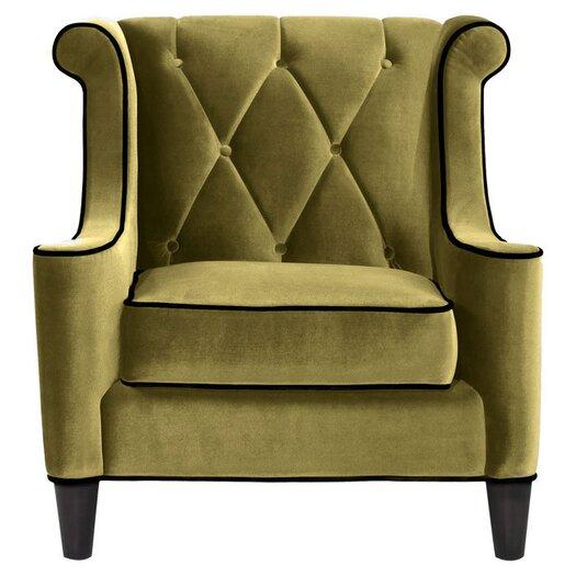 Armen Living Barrister Velvet Arm Chair