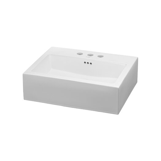 Ronbow Rectangle Ceramic Vessel Bathroom Sink with Overflow