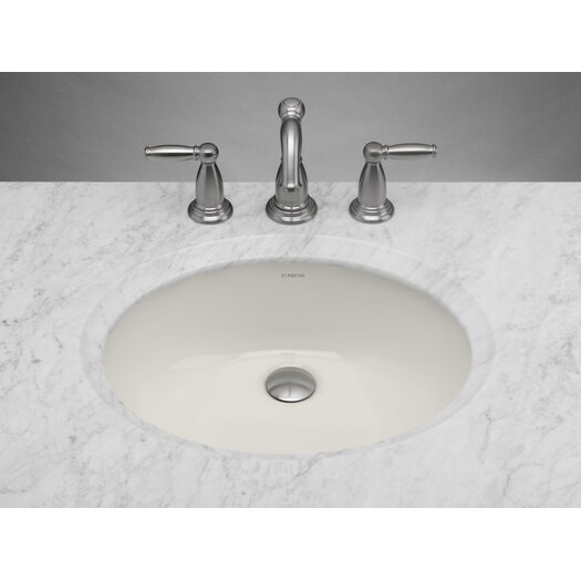 "Ronbow Oval Undermount 16.13"" W  Ceramic Bathroom Biscuit Sink with Overflow"