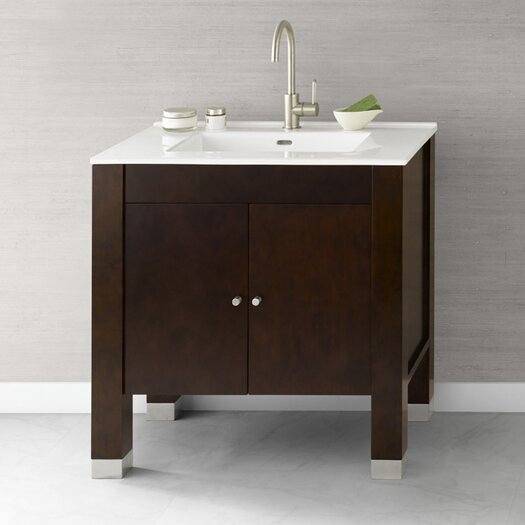 "Ronbow Contempo 32"" Vintage Walnut Devon Vanity and White Integral Ceramic Sinktop"