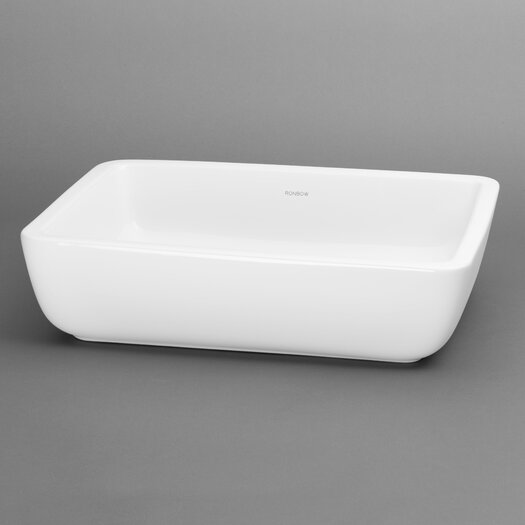 Ronbow Ceramic Rectangle Vessel Bathroom Sink without Overflow