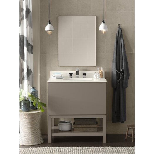 """Ronbow Contempo Jenna 32.25"""" W Wood Blush Taupe Cabinet Vanity Set"""