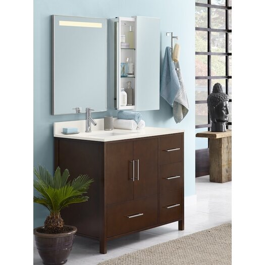 "Ronbow Contempo Juno 38.35"" W Standard Bathroom Dark Cherry Vanity Base w/ Three Holes & Left Side Doors"