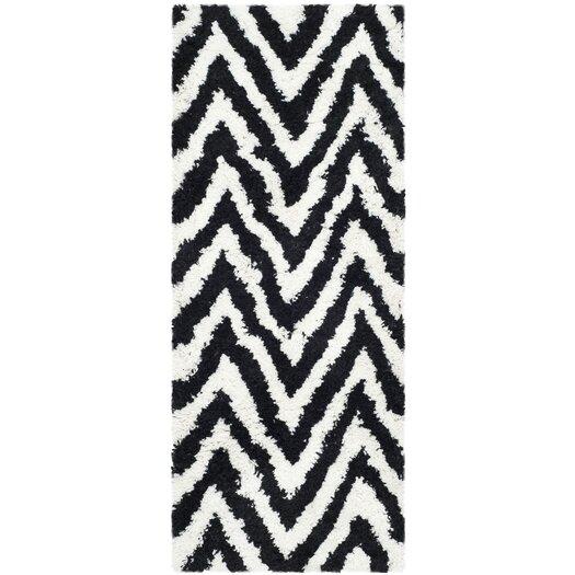 Safavieh Ivory / Black Shag Rug