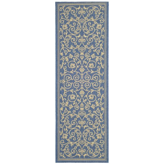 Safavieh Courtyard Floral Blue/Natural Outdoor/Indoor Area Rug