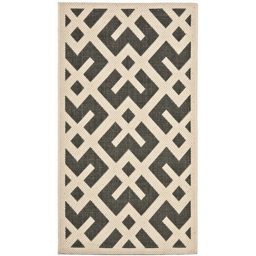 Safavieh Courtyard Black / Beige Outdoor Rug