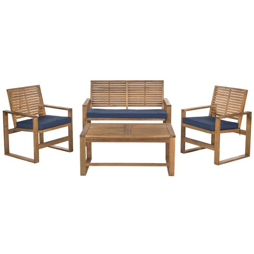 Safavieh Ozark 4 Piece Lounge Seating Group in Brown with Cushions