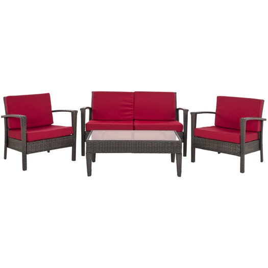 Safavieh Piscataway 4 Piece Deep Seating Group with Cushions