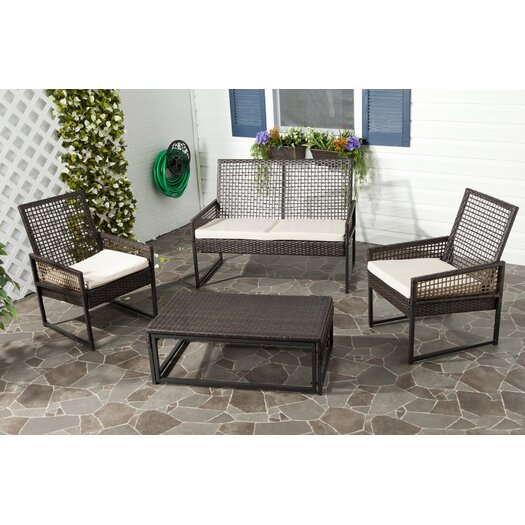 Safavieh Shawmont 4 Piece Seating Group with Grey Cushions