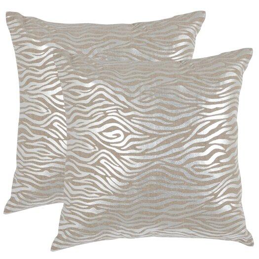 Safavieh Demi Linen Throw Pillow in Silver