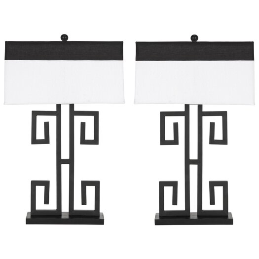 "Safavieh Greek Key 28"" H Table Lamp with Rectangular Shade"