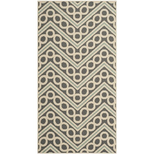 Safavieh Hampton Dark Grey/Ivory Chevron Outdoor Area Rug