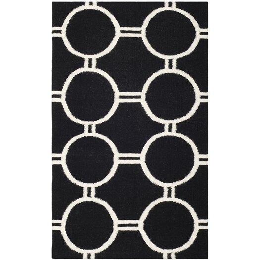 Safavieh Dhurries Black/Ivory Area Rug