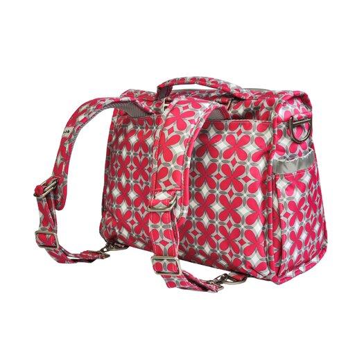 Ju Ju Be BFF Messenger / Backpack Diaper Bag in Pink Pinwheels