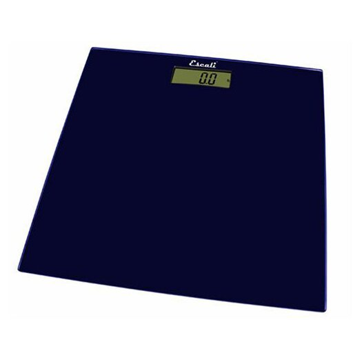 Escali Midnight Blue Square Glass Platform Bathroom Scale