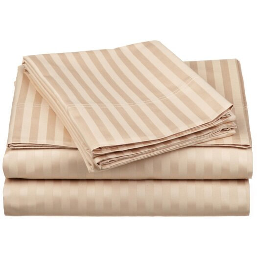 Simple Luxury 650 Thread Count Egyptian Cotton Queen Waterbed Stripe Sheet Set