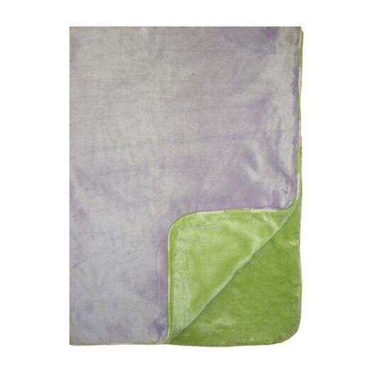 Bacati Flower Basket Two Layer Velor Plush Blanket